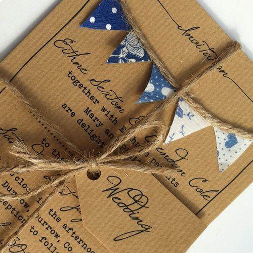 Bunting Wedding Invitation Must be Fete blue handmade bunting