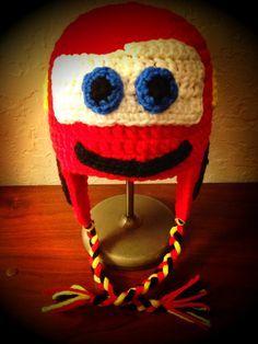 Free Disney Crochet Hat Patterns   Cars Lightning McQueen Inspired Crochet Hat by HarvesterProducts