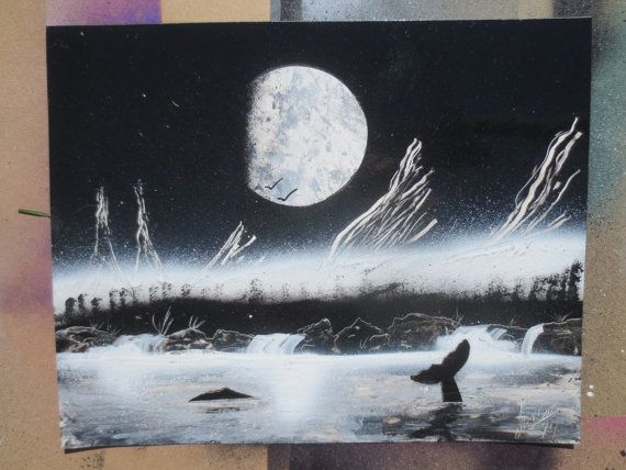 Hey, I found this really awesome Etsy listing at https://www.etsy.com/listing/195672106/humpback-whales-swimming-at-night-under