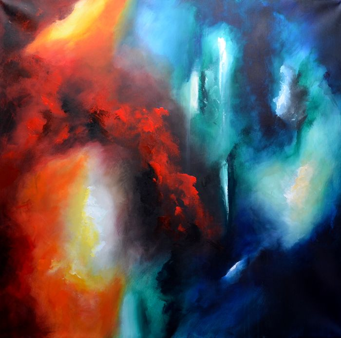 """Abstract Painting–""""Possibilities"""" Acrylic on canvas 70 X 70 cm by Niki Katiki"""