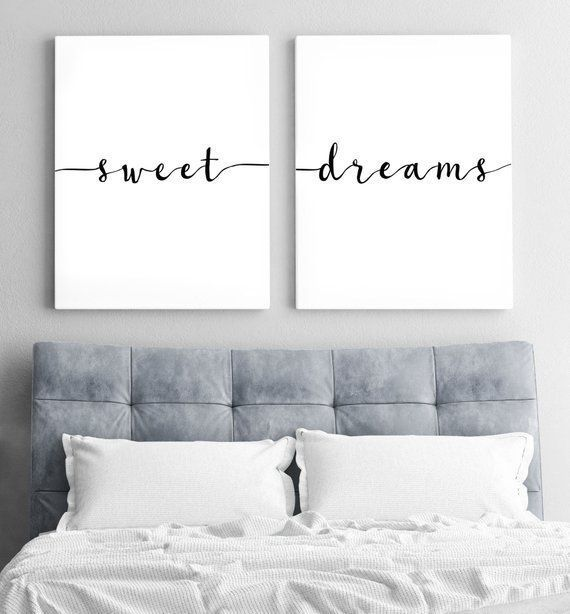 Above Bed Art Above Crib Art Set Of 2 Prints Minimalist Poster Above Crib Decor Nursery Wall Art Bedroom Wall Art Sweet Dreams Print Bedroom Wall Decor Above Bed Wall Decor
