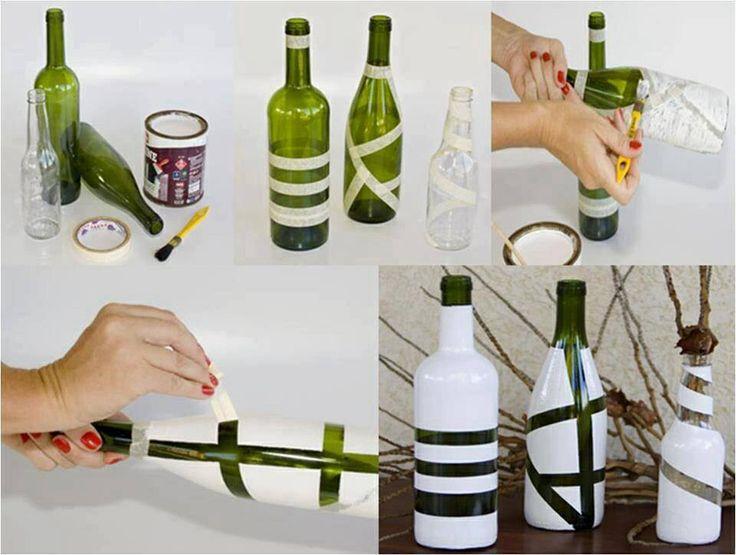 Botellas de vino+cinta aderible+pintura aerosol... =]