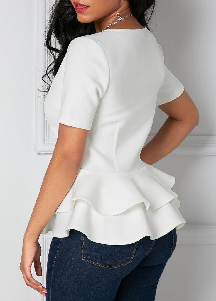 White Zipper Up Flouncing Layered Short Sleeve Blouse | Rosewe.com - USD $30.03