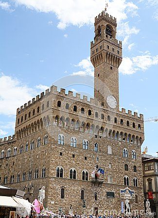 The ancient old palace and Signoria Square in Florence, Italy