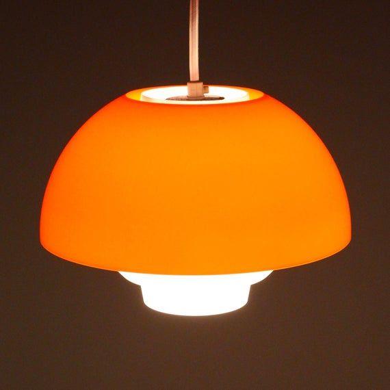 Ergo Orange Plexiglas Lamp By Bent Karlby Ask Belysning 1971 Etsy Design Candle Holders White Hanging Lamps Candle Maker