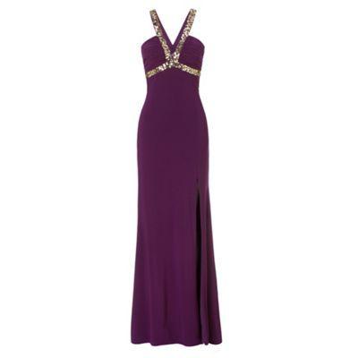 Hailey Logan Eggplant purple sleeveless sequin long evening dress- at Debenhams.com