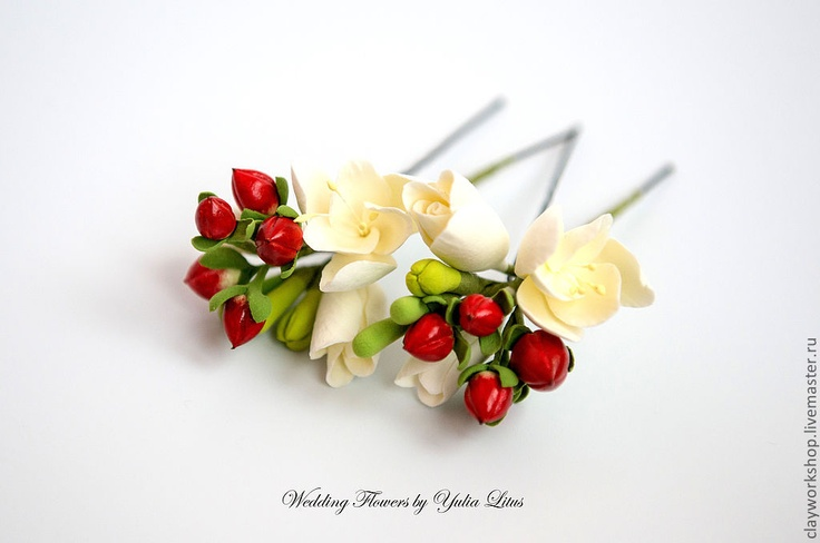 Wedding hairpins with handmade clay flowers by Yuliya Litus