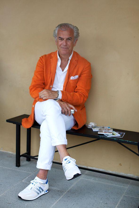 .photo Scott Schuman The Sartorialist: All White, Colors Jeans, Summer Inspiration, Men Style, Street Style, Men Fashion, Orange Blazers, Orange Jackets, Man Style