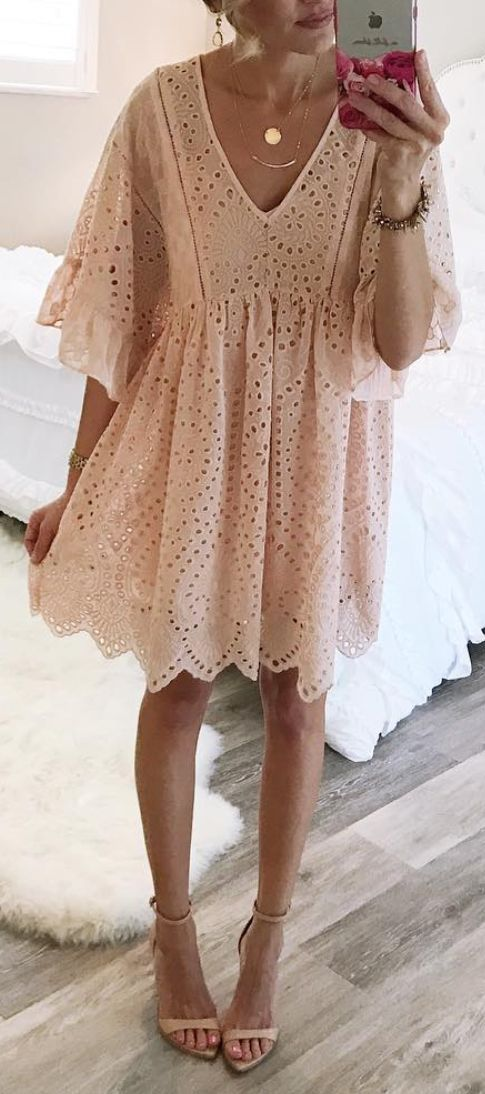 #summer #outfits Blush Eyelet Dress + Nude Sandals // Shop this exact outfit in the link