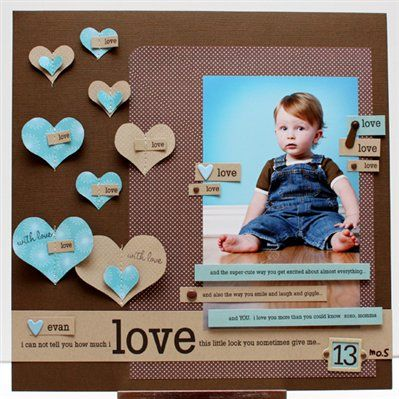 Love-scrapbook page Colors of red, pink, and white would look great for Valentines Day