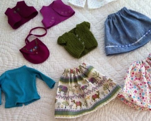 Rhondda's grandchildren are very lucky girls - I want that gorgeous camel skirt for myself.  Love the fabrics.
