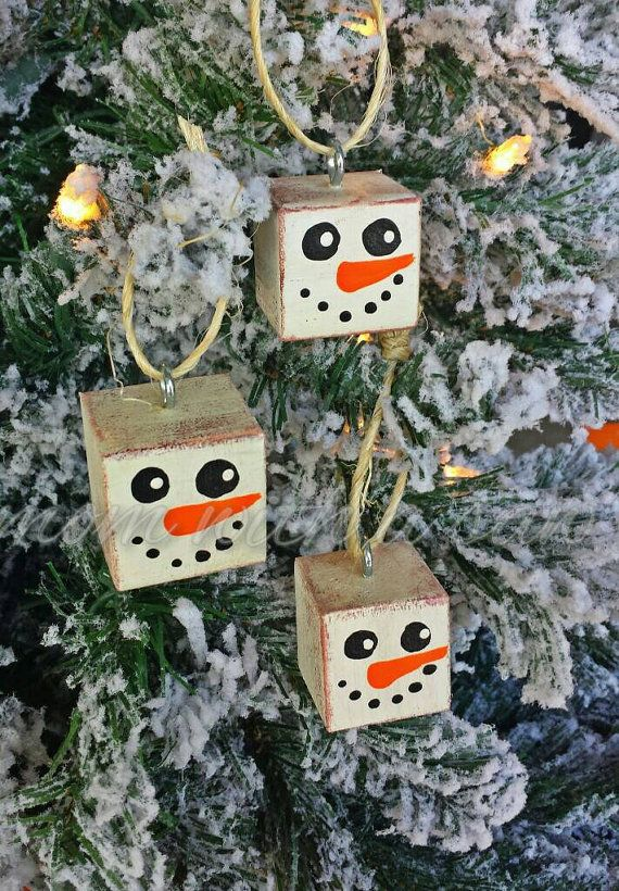 """Wooden snowman ornament. Rustic snowmen. 1"""" square wood cubes each hand painted and distressed by MomWithASaw on Etsy"""