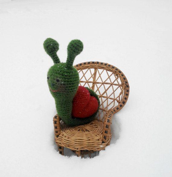 Chrochet Snail hand knit toy Plush Snail doll fuzzy by Ninastoy