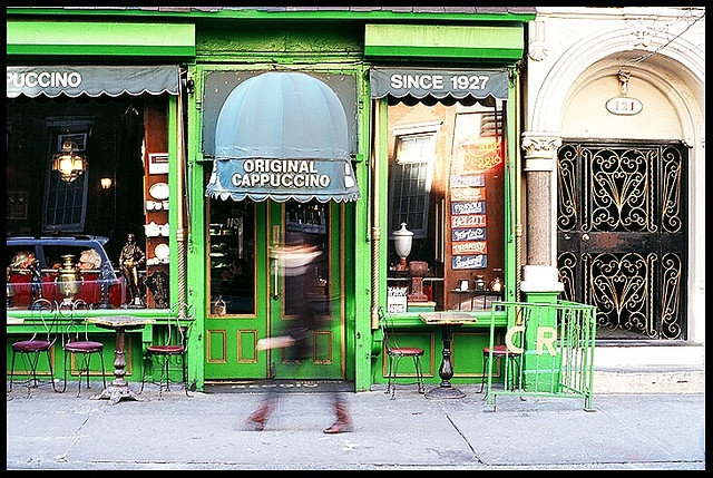 Cafe Reggio.  Delicious tiramisu. 119 MacDougal Street, between W. 3rd Street and Minetta Lane. Kerouc hang out