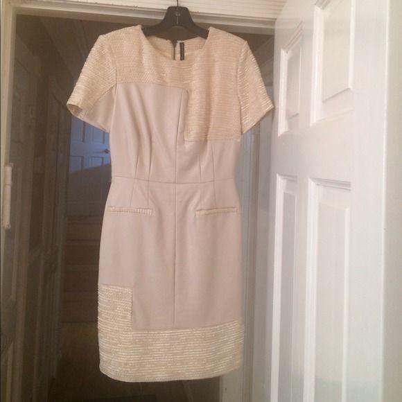 Last call beige leather look dress by viviglam❤️ By viviglam like new  Macy's Dresses