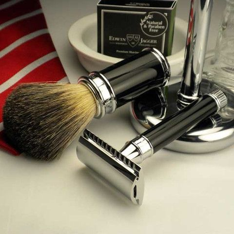 Edwin Jagger Double Edge Ebony Safety Razor 3 pc Set, with Pure Badger Brush & Stand