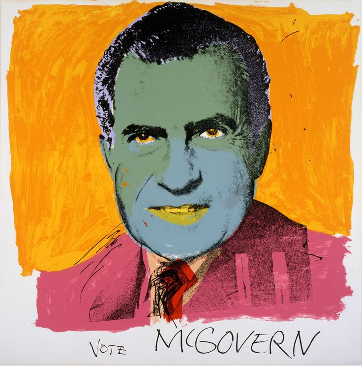 As ever with Warhol, where the art meets the legend is where things get really interesting. Take the screenprinted 1972 portrait of Richard Nixon, for example, a typically Warholian study of the photographed figure emblazoned with overlaid colour and an exaggerated, neon-piped outline. In this instance, Warhol chose to give the then-President a ghastly blue skin pallor, matching disconcertingly infernal orange eyes with a showman-pink jacket. Most pointedly of all, the hand-scrawled legend…