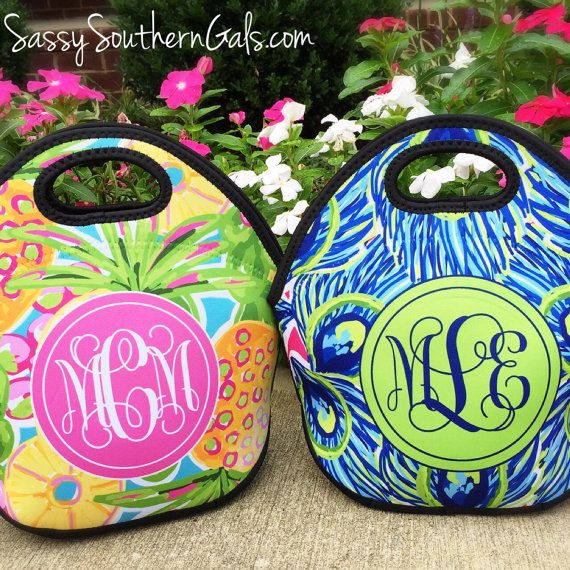 Monogrammed Lilly Pulitzer Inspired Lunch Bag, Lunch Bag for Women, Monogrammed Lunch Bags, Personalized Lunch Bag, Personalized Lunch Tote