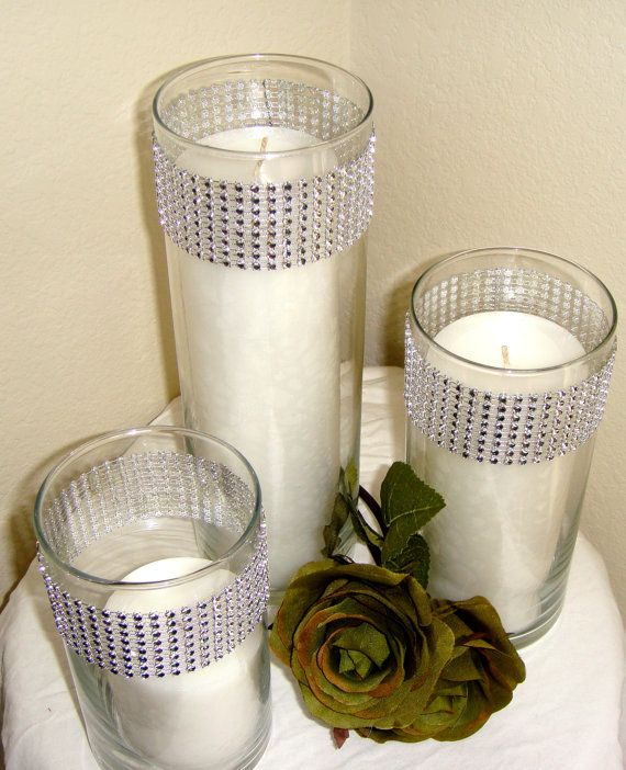 Set Of 3 Silver Rhinestone Wrap Glass Cylinder Vases And Pillar Candles Wedding Or Special Event CenterpiecesBling