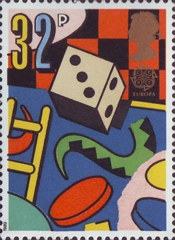 Europa. Games and Toys 32p Stamp (1989) Dice and Board Games