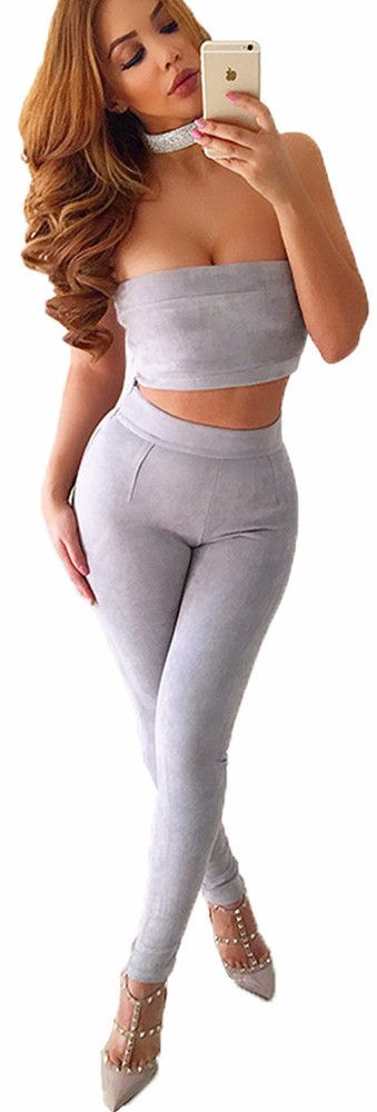 Womens Suede Tight Pencil Pants+Tube Top