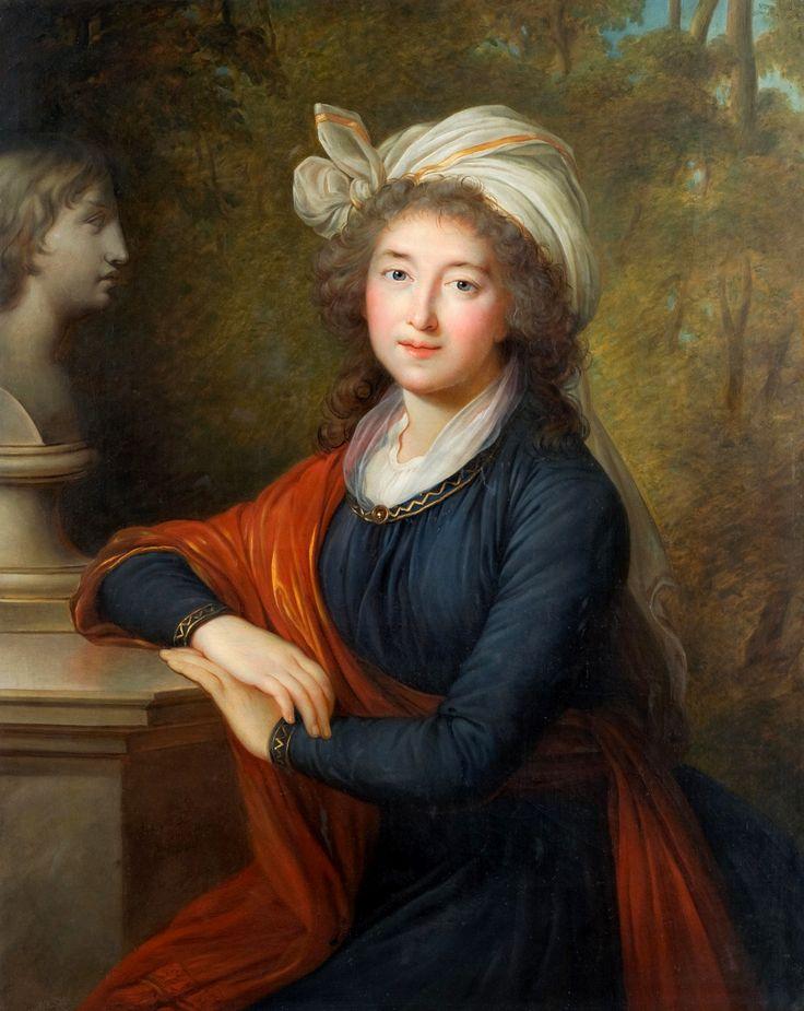 """Portrait of Izabela Lubomirska """"The Blue Marquise"""" with a bust of Henryk Lubomirski by Władysław Ślendziński after Elisabeth Vigée-Lebrun, original 1793 (PD-art/old), Muzeum-Zamek w Łańcucie"""
