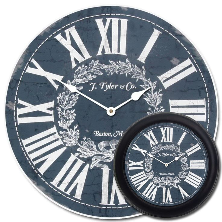 The Manor House blue clock looks quite vintage and chic with its deep blue background and white accents. Very nice as an office clock, bedroom clock, or living room clock. Can be customized to include your logo/text instead of the default words. Many sizes available. Frames can be added as well.