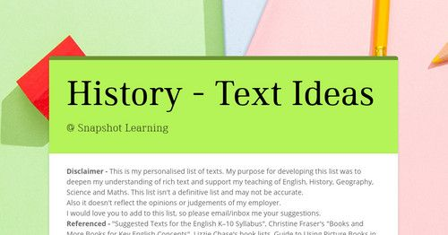 History - Text Ideas - @ Snapshot Learning by SHELLIE TANCRED