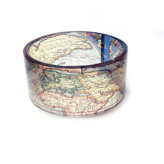 Bangle, bracelet, chunky, resin, The whole world in your hands, chunky resin bangle, photo bangle by BuyMyCrap