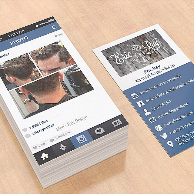 Cool idea alert!!! Instagram inspired business cards by cool barber ericraymiller on IG #HairBizTips