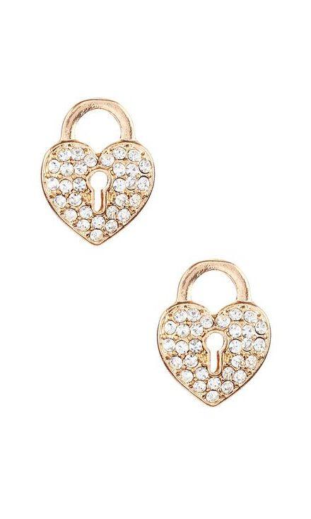 Olivia Welles Jewelry Crystal & Gold Heart Lock Stud Earrings