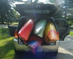 Who needs a trailer? 4 kayaks in one Ford Escape