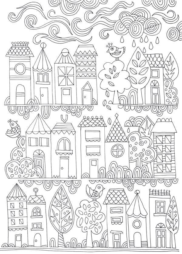 Lámina para colorear // Free adult colouring page. Illustrated by Lisa Tilse…