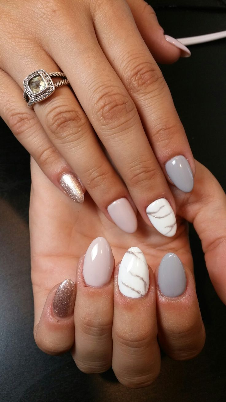 @ataylorrey gel polish nude nails grey rose gold white marble nail art