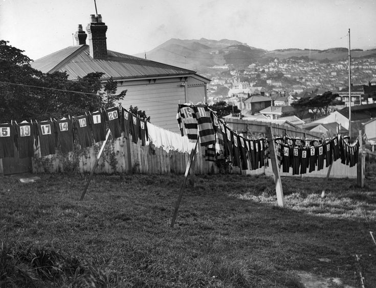 Rugby jerseys drying on washing lines, Wellington, ca 1930… | Flickr