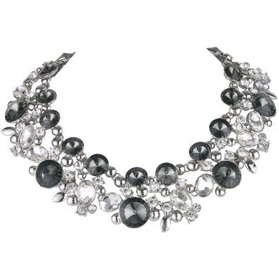 Art Deco Statement Necklace Clear w/ Black Silver-Tone