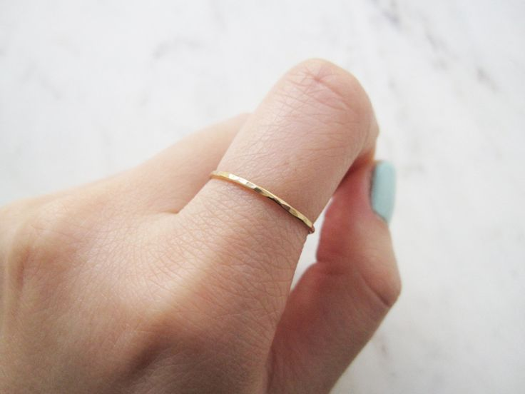 Thin hammered gold ring//gold filled ring, gold ring band, gold stacking ring…