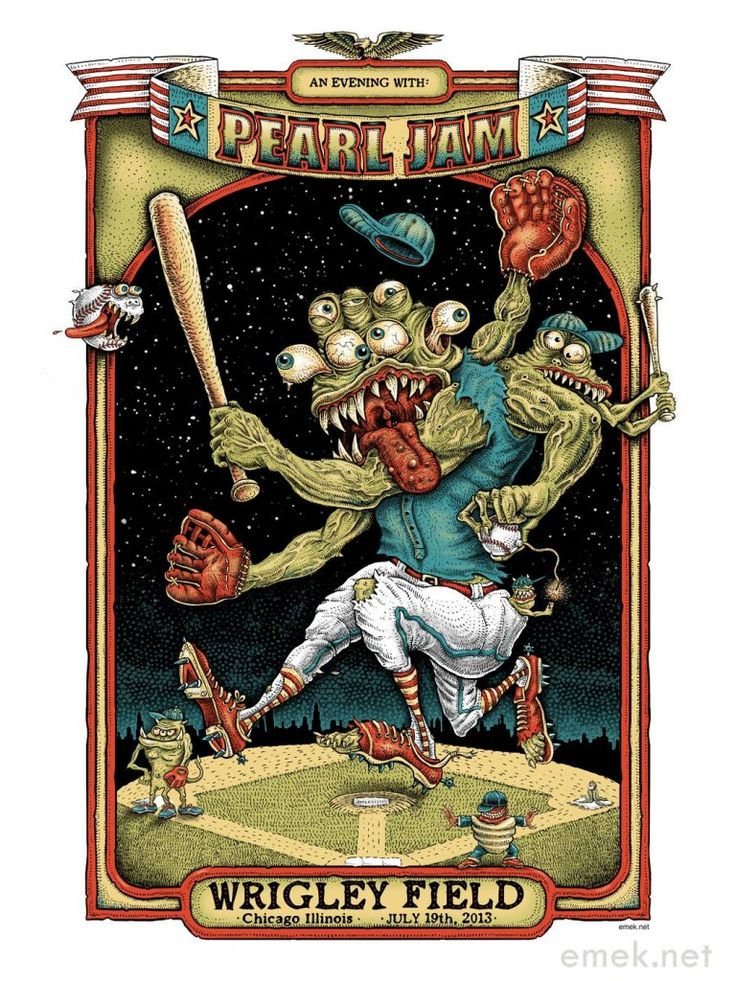 Pearl Jam Wrigley Field Poster 7/19/2013 #Chicago #Emek