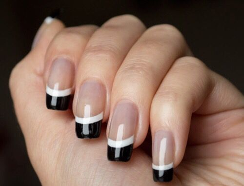 Tan black & white fingernails