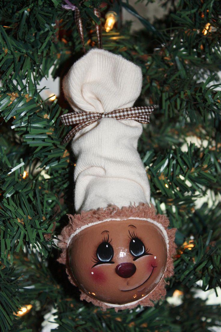 Hand Painted Gingerbread Man Standard Light Bulb By Tracyscrtns