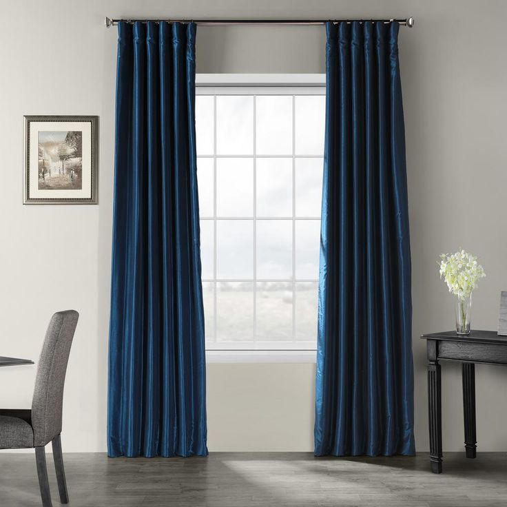 Exclusive Fabrics & Furnishings Captain's Blue Vintage Textured Faux Dupioni Silk Light Filtering Curtain – 50 in. W x 108 in. L-PDCH-KBS70-108
