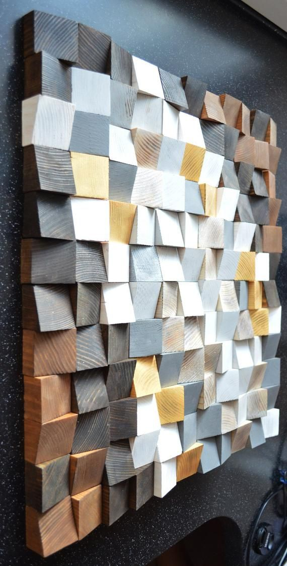 Geometric Wood Wall Art Reclaimed Wood Art Mosaic Wood Art