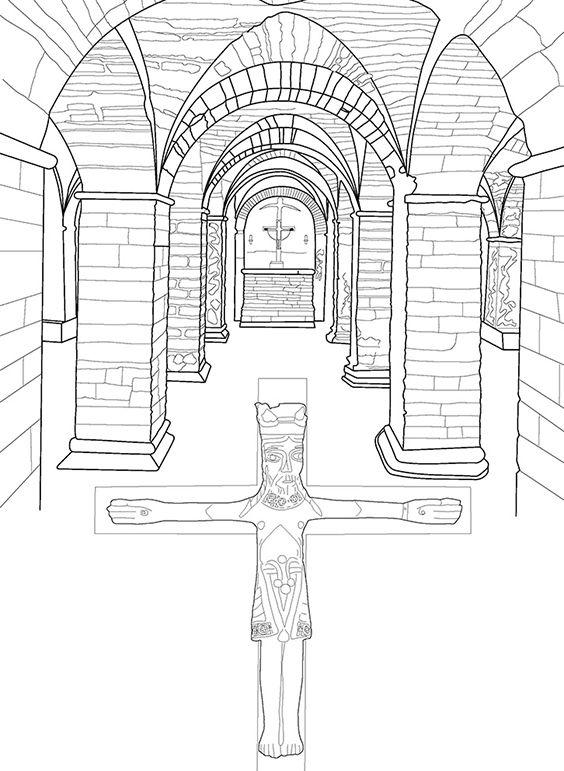 Kryptkirken, tegning fra Mal Aarhus