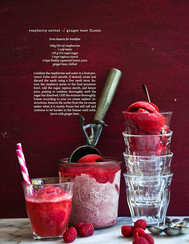 Raspberry Sorbet Ginger Beer Floats, via dessertsforbreakfast