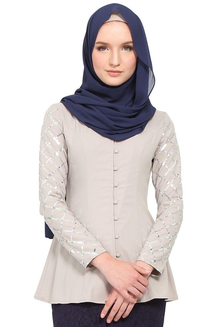 Varisha Sequin Sleeve Kebaya Blouse - Grey