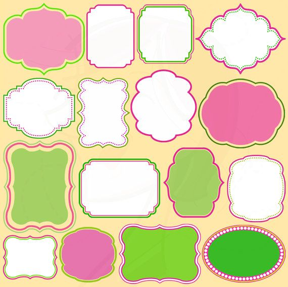 Frame Clip Art Digital Border Clipart Pink Green Commercial Use Personal Use Scrapbooking Supplies School Teachers INSTANT DOWNLOADS 10412. $5.70, via Etsy.