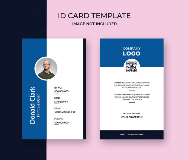 Minimal Office Id Card Template Id Card Template Digital Business Card Free Printable Business Cards
