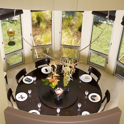 Love This Round Dinning Room Table. It Has A Rotating Table For Food In  Middle. And The Light Above It, You Can Barely See It.