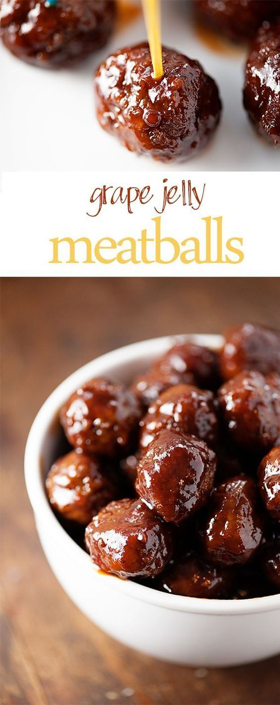 Grape Jelly Meatballs recipe - an easy appetizer recipe for football or New Year's! Just 3 ingredients and made in the crockpot!