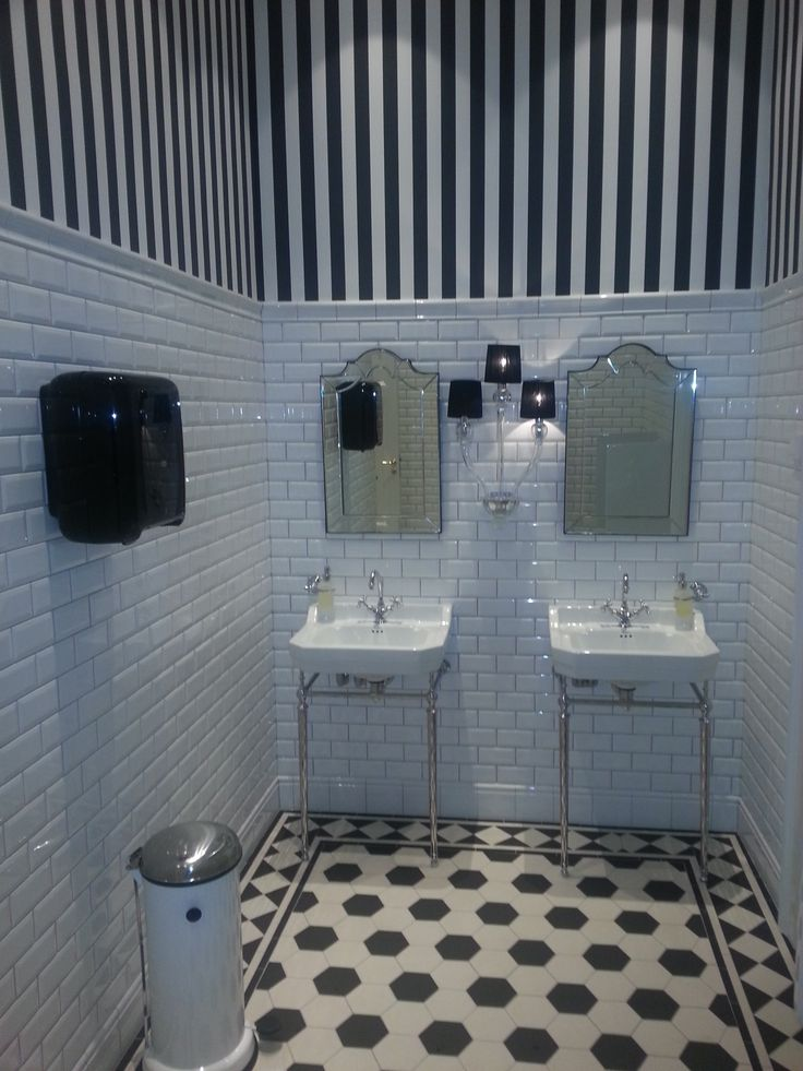 Black and white never dates, as shown in this monochromatic scheme featuring Original Style's Victorian Floor Tiles and ever popular white metro/subway tiles. Image supplied by Byggfabrikken, Sweden: http://www.byggfabriken.com/. Click the image for more information about these tiles.